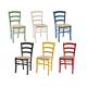 Anteprima foto sedie in legno colorate con seduta paglia per bar pub e ristorante