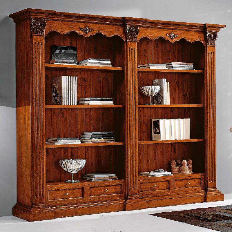 Libreria Classica In Legno Con 4 Cassetti e 6 Ripiani ...