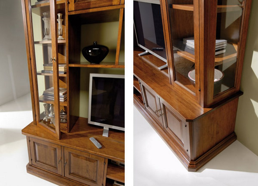 Mobile libreria soggiorno in legno a parete · Mobilificio ...