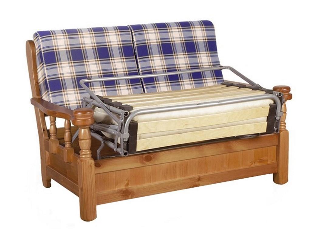 Divano letto 2 posti in legno di pino massello stile ...