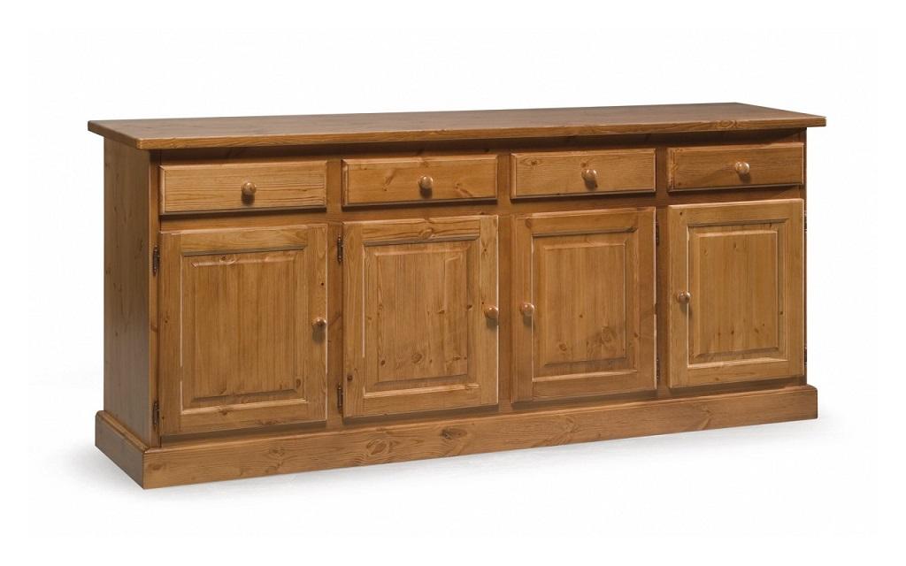 Credenza Rustica Verde : Credenza porte cassetti in legno di pino massello
