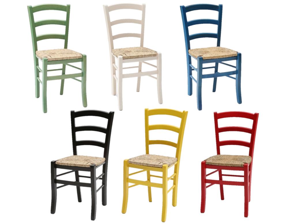 Sedie in legno colorate con seduta paglia per bar pub e ...