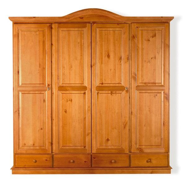 Armadio in legno di pino massello 4 ante 4 cassetti ...
