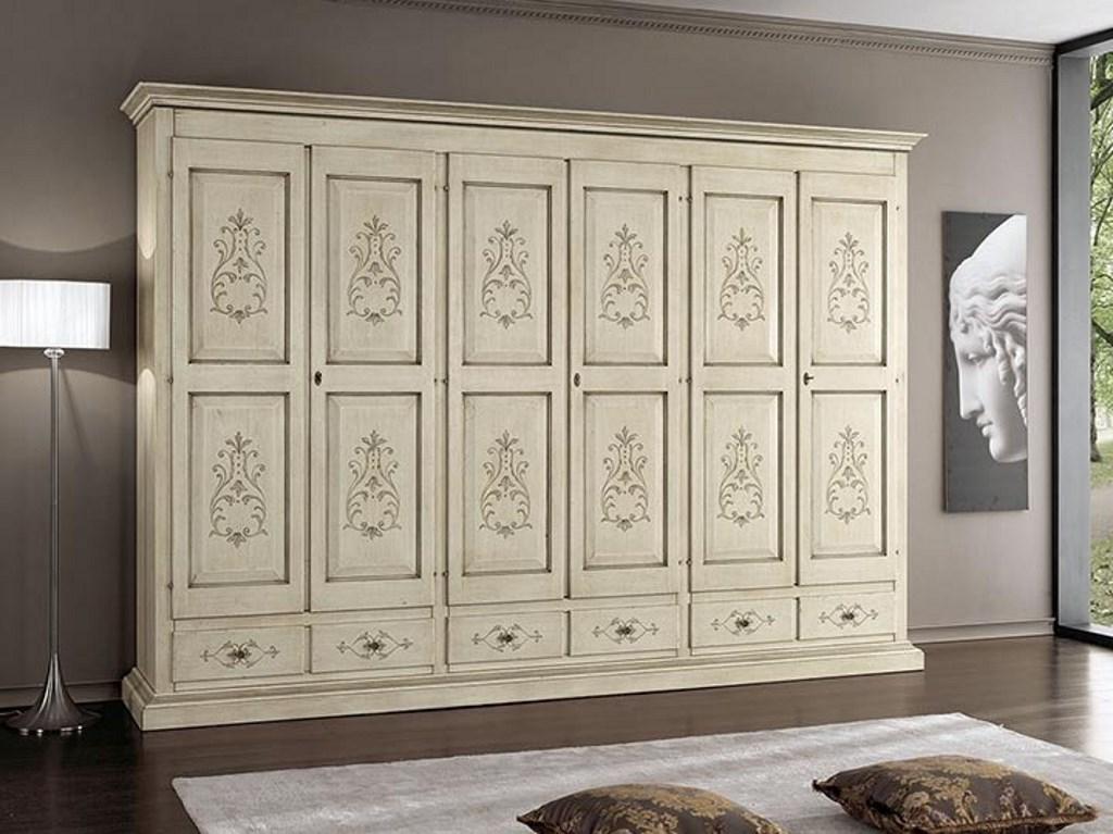Armadio in legno 6 ante e 6 cassetti decorati ...