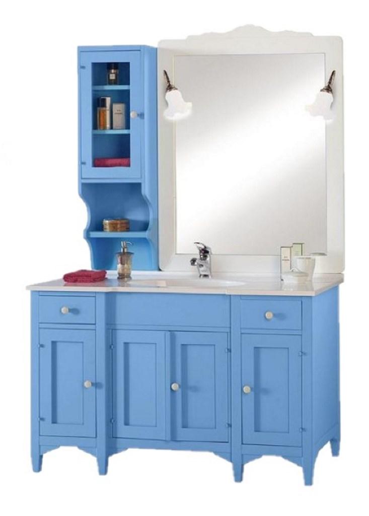 Arredo Bagno Colore Azzurro.Mobile Bagno In Legno Colore Azzurro Mobilificio Maieron Paluzza