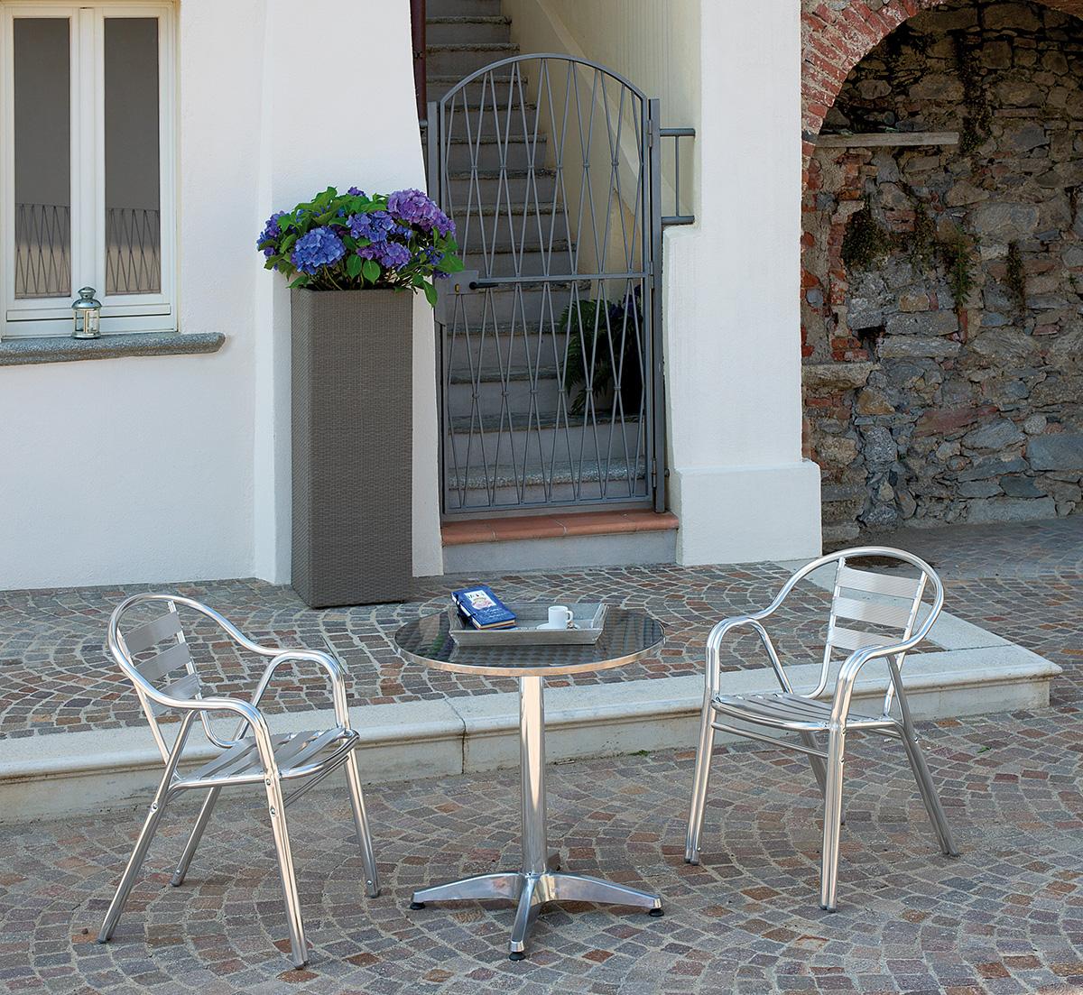 Sedie Esterno In Alluminio Con Braccioli Per Arredo Bar ...