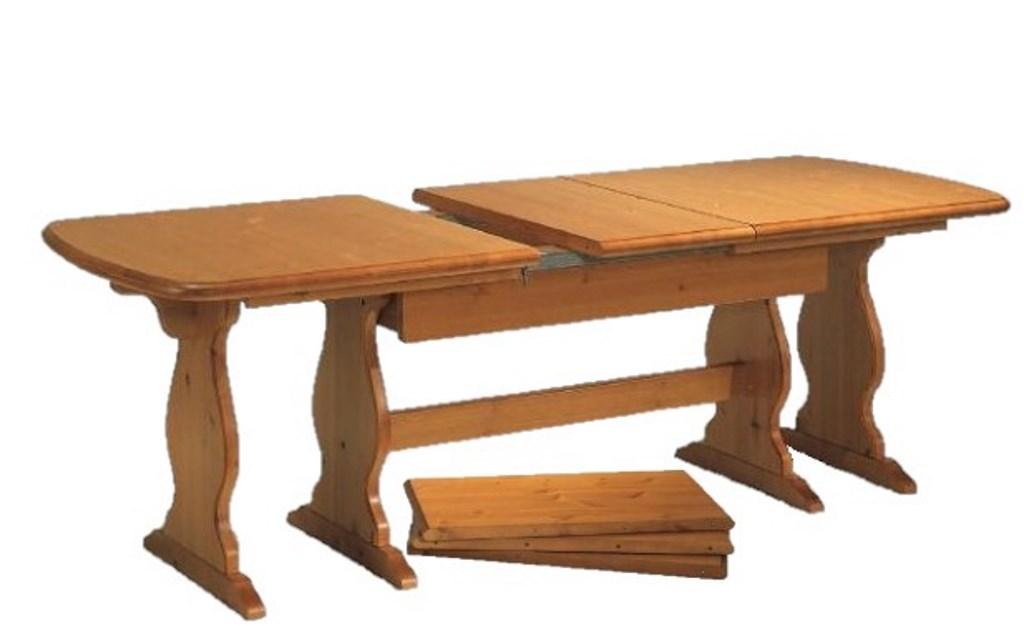 Tavoli Allungabili In Legno Arte Povera.Tavolo Allungabile In Legno Di Pino Massello Gambe Fratino 190 370