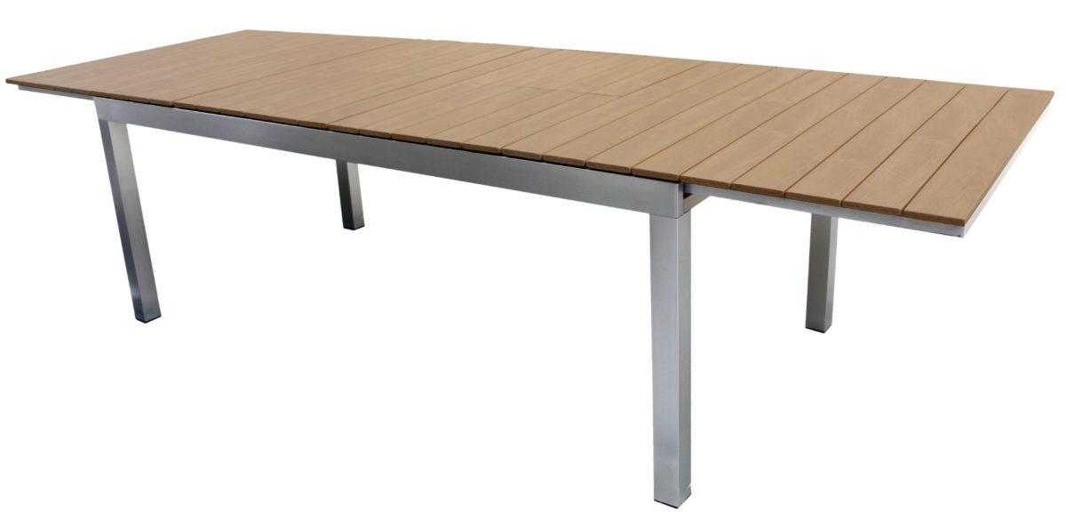 Tavolo Allungabile In Alluminio Con Piano Doppio Allungo In Resin Wood Color Rovere Mobilificio Maieron Paluzza Udine Italia