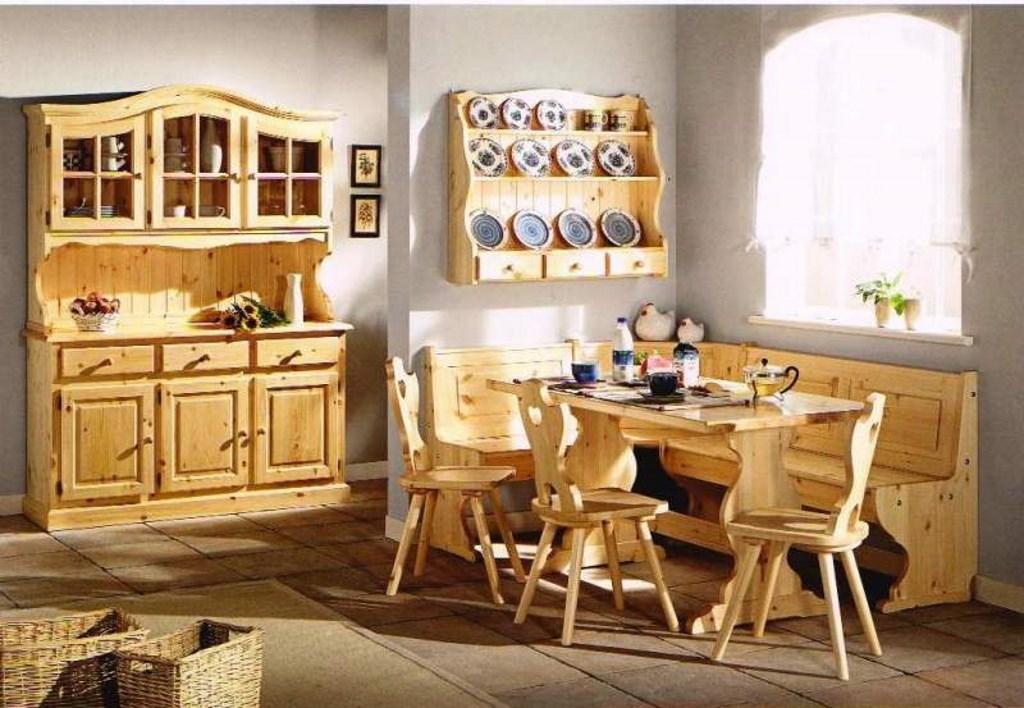Composizione Soggiorno Taverna Cucina In Legno Massello ...