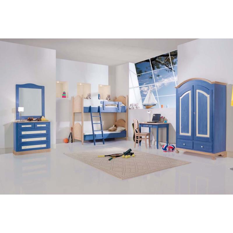 Letto A Castello 190x80.Composizione Camera In Legno Di Abete Stile Rustico Color Blu