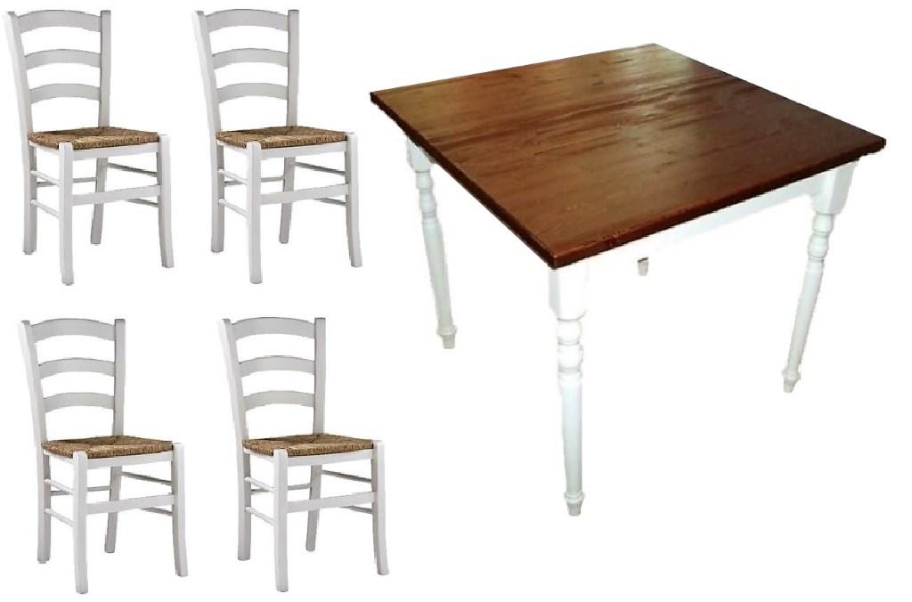 Tavoli E Sedie Ristorante Arredamento E Casalinghi.Set Tavolo 4 Sedie In Stile Shabby Per Bar Ristorante