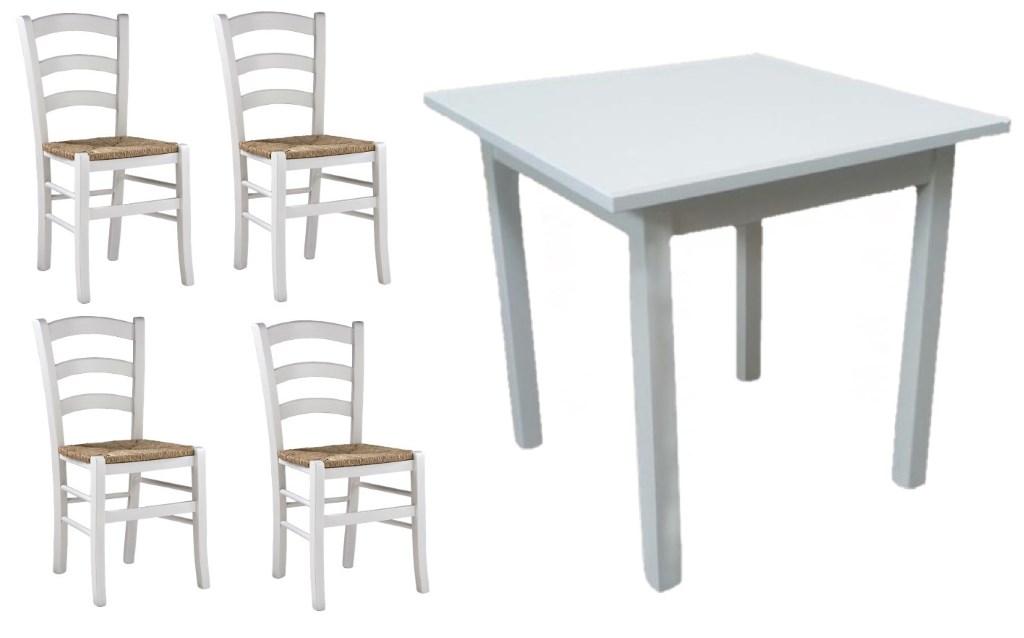Set Tavolo 4 Sedie Impagliate Per Ristorante Color Bianco Anilina Mobilificio Maieron Paluzza Udine Italia