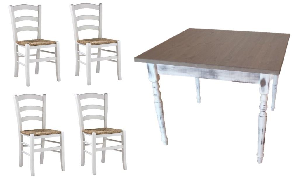 Set Tavoli E Sedie In Stile Shabby Chic Bar Ristorante Gambe Tavolo Tornite Consumate Sedie Seduta Paglia Mobilificio Maieron Paluzza Udine Italia