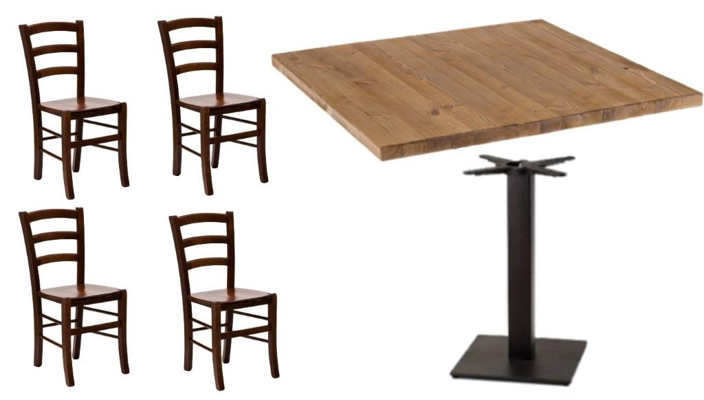 Set Tavolo Con Base Ghisa e Piano Legno e Sedie Seduta ...
