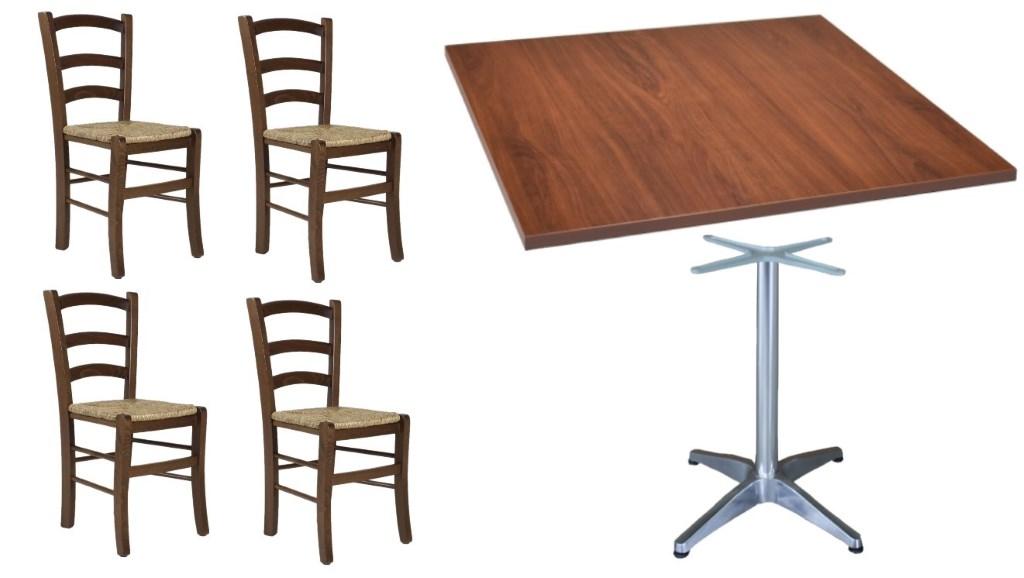 Tavoli E Sedie Rustiche.Set Tavolo Con Base Alluminio 4 Sedie Rustiche Per Bar