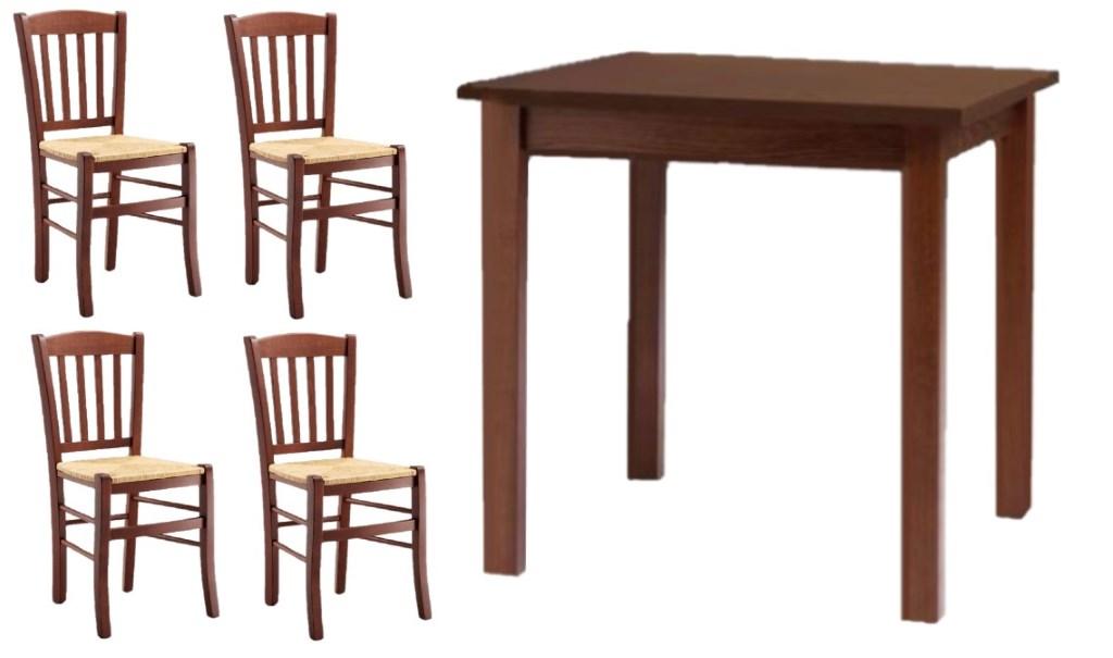 Tavoli E Sedie Ristorante Arredamento E Casalinghi.Set Tavoli Legno Color Noce E 4 Sedie Classiche Seduta
