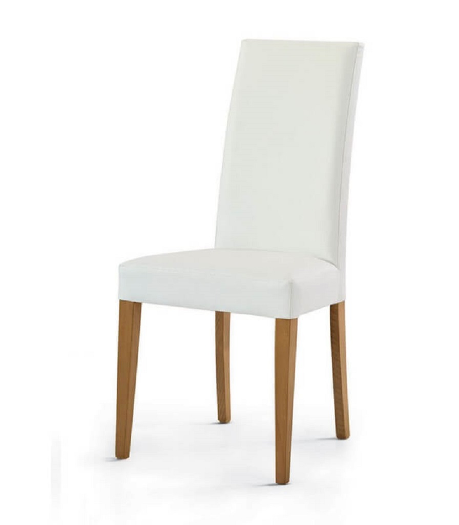 Set Tavolo 4 Gambe Color Bianco e Sedie Moderne Ecopelle ...