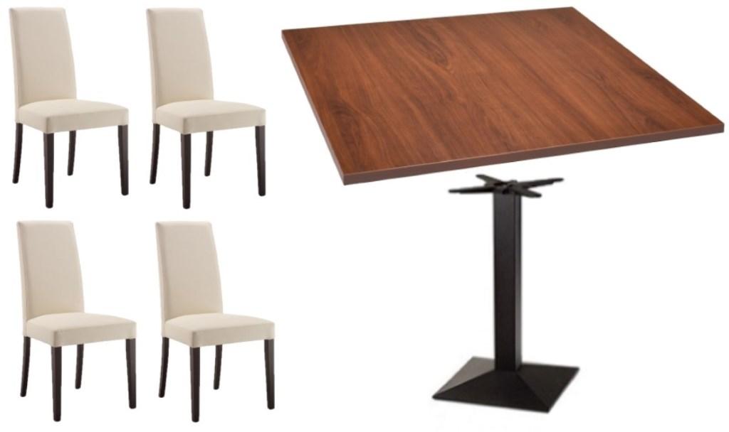Set tavolo + 4 sedie imbottite per bar ristorante