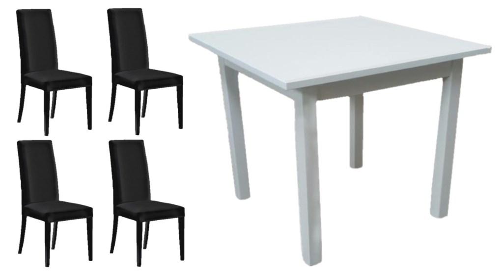 Set Tavolo 4 Gambe Color Bianco e Sedie Moderne Ecopelle